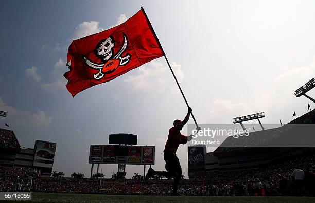 Flags are run across the endzone after a field goal by the Tampa Bay Buccaneers against the Buffalo Bills on September 18 2005 at Raymond James...