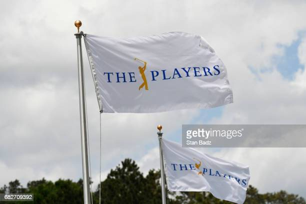 Flags are seen along the Championship Way during the third round of THE PLAYERS Championship on THE PLAYERS Stadium Course at TPC Sawgrass on May 13...