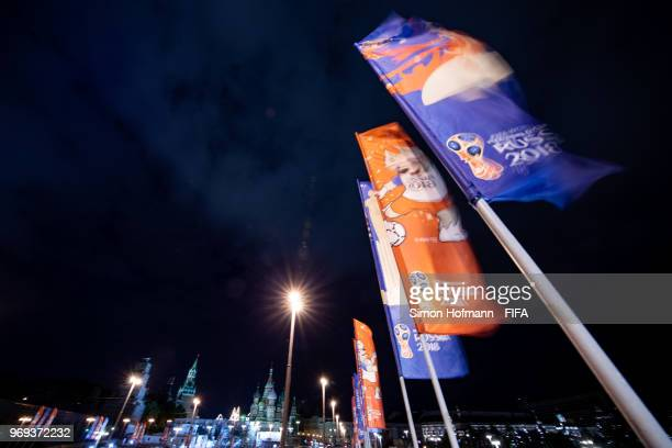 Flags are seen at Bolshoy Moskvoretsky Bridge prior to the FIFA 2018 World Cup on June 7 2018 in Moscow Russia