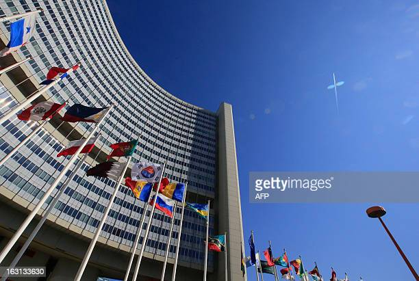 Flags are seen during at the United Nations Office building at Vienna as part of the International Atomic Energy Agency IAEA Board of Governors...