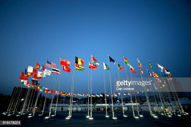 Flags are seen outside before the medal ceremony on day one of the PyeongChang 2018 Winter Olympic Games at Medal Plaza on February 10, 2018 in...