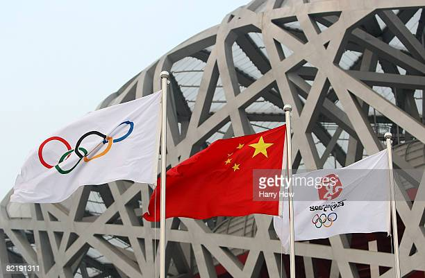 Flags are seen outside of the Bird's Nest ahead of the Beijing 2008 Olympics on August 6 2008 in Beijing China