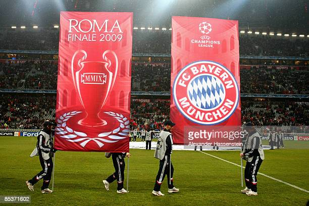 Flags are seen prior to the UEFA Champions League first knockout round second leg match between FC Bayern Muenchen and Sporting Lisbon at the Allianz...
