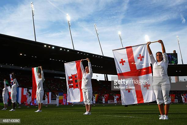 Flags are waved as part of the closing ceremony during day six of the 22nd European Athletics Championships at Stadium Letzigrund on August 17 2014...