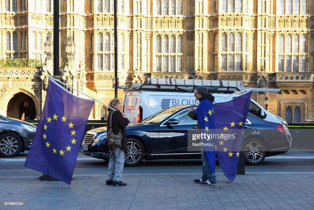 EU flags are waved outside the British parliament to protest against Brexit, London on November 6, 2017. John Bercow, the Speaker of the House of Commons, has set the government a deadline to publish the Brexit assessments demanded by parliament. MPs voted unanimously last Wednesday to call on David Daviss department to release its studies of the impact of Brexit on various sectors of the UK economy, after he published a list of the 58 sectors covered.