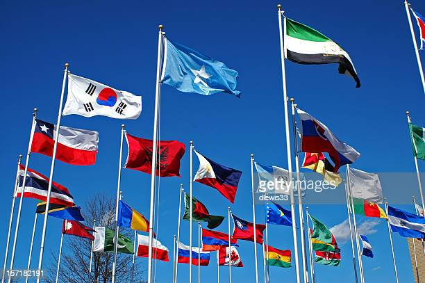 flags around the world - diplomacy stock pictures, royalty-free photos & images
