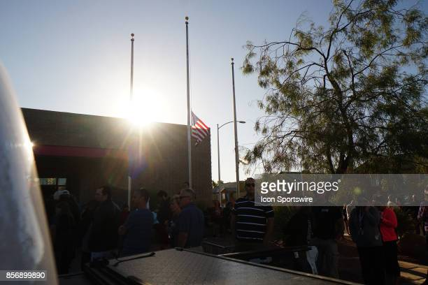Flags at half Mass at United Blood Services as people wait to donate blood on October 02 2017 in Las Vegas NV