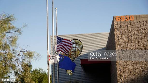 Flags at half mast at United Blood Services on October 2 after a mass shooting at the Route 91 Harvest Festival near Mandalay Bay on October 1 in Las...