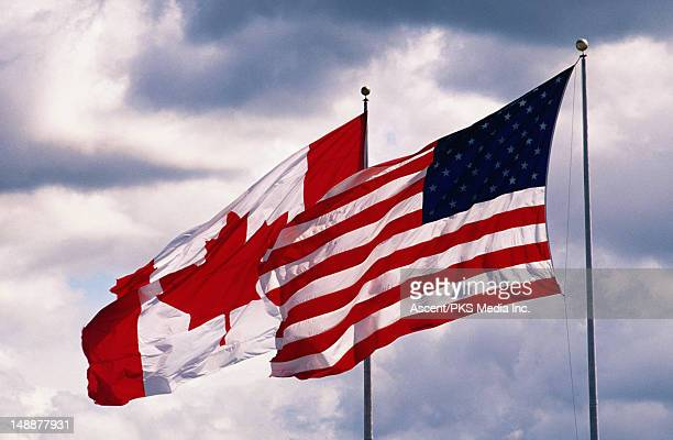 flags at peace arch. us - canadian border between vancouver and blaine. - canadian flag stock pictures, royalty-free photos & images