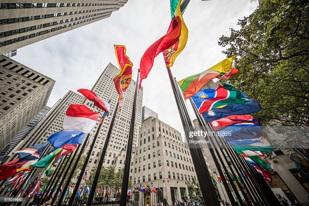 Flags at Rockefeller Plaza, New York City, United States : Stock Photo