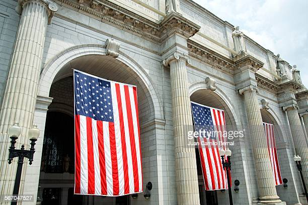 USA flags at Union Station in Washington DC