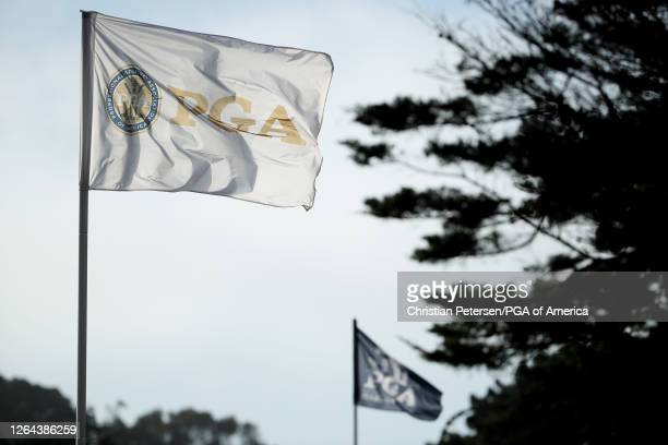 Flags blow in the breeze during the first round of the 2020 PGA Championship at TPC Harding Park on August 06, 2020 in San Francisco, California.
