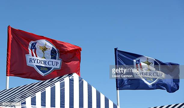 Flags blow in the wind prior to the 2016 Ryder Cup at Hazeltine National Golf Club on September 26 2016 in Chaska Minnesota