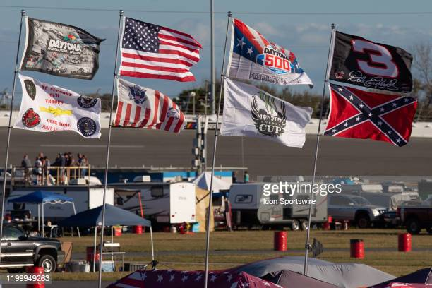 Flags flown from a campsite in the infield during the Busch Clash at DAYTONA on February 9, 2020 at Daytona International Speedway in Daytona Beach,...