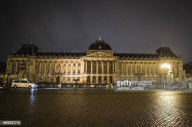 Flags fly at half mast at the Royal Palace on December 5, 2014 in Brussels after the palace announced that Belgium's former queen Fabiola, the...
