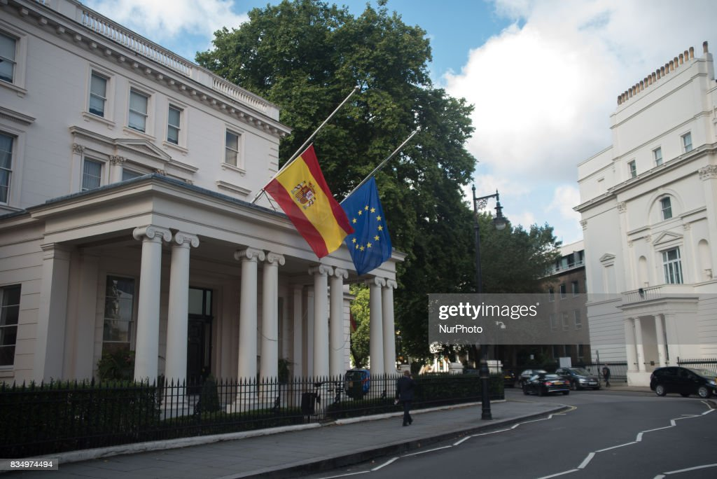 Flags fly at halfmast at Spanish Embassy in Central London