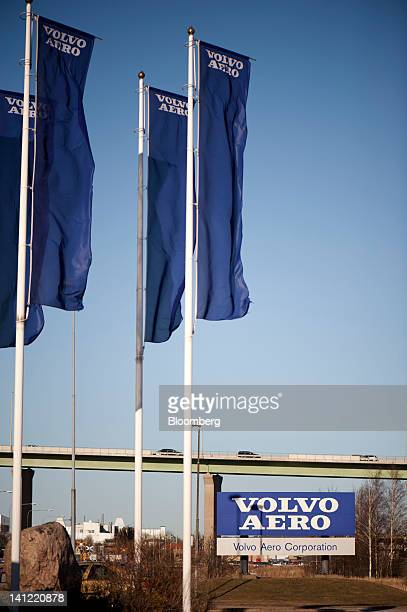 Flags fly at the entrance to the Volvo Aero factory a division of Volvo AB in Trollhaettan Sweden on Monday March 12 2012 GKN Plc a British maker of...