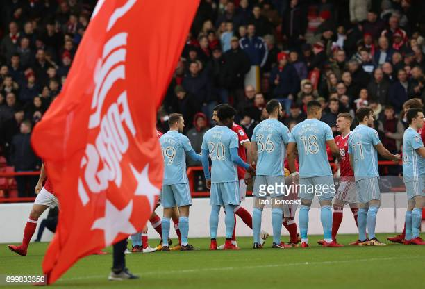 Flags fly at the start of the game during the Sky Bet Championship match between Nottingham Forest and Sunderland at City Ground on December 30 2017...