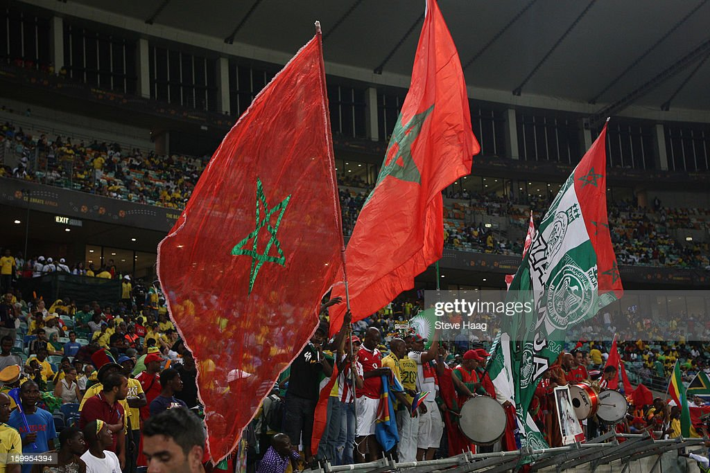 Flags fly during the 2013 African Cup of Nations match between Morocco and Cape Verde at Moses Mahbida Stadium on January 23, 2013 in Durban, South Africa.