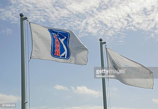Flags fly in the breeze during the third round of the Mayakoba Golf Classic at El Camaleon Golf Club held on February 20, 2010 in Riviera Maya,...
