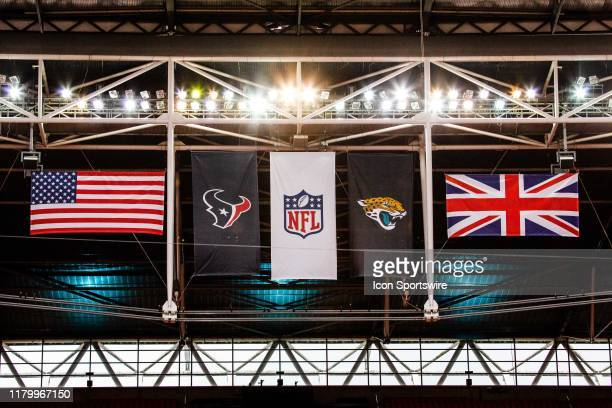 Flags fly in the rafters before the NFL game between the Houston Texans and the Jacksonville Jaguars on November 03 2019 at Wembley Stadium London...