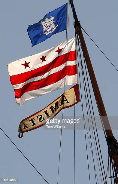 Flags fly on La Amistad recreation of the cargo schooner is on display at 600 Water Street in SW La Amistad was never a slave ship It was scene of an...