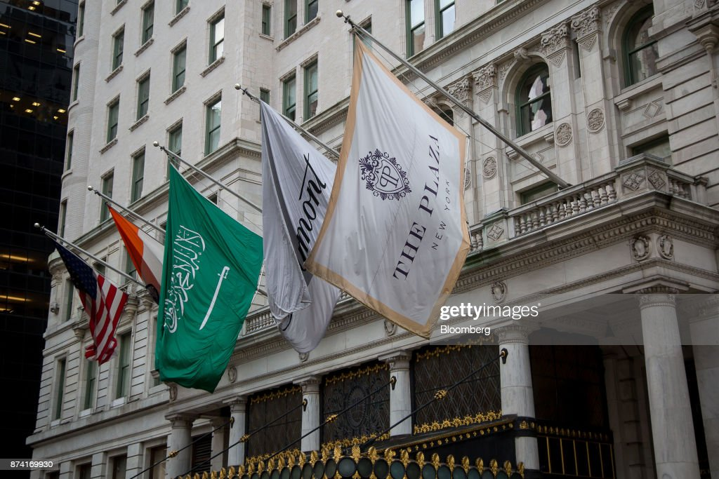 Flags fly outside of the Plaza Hotel in New York, U.S., on Monday, Nov. 13, 2017. Billionaire SaudiPrince Alwaleed bin Talalhas long been associated with New York's iconic Plaza Hotel, ever since he bought out Donald Trumpover two decades ago. Photographer: Michael Nagle/Bloomberg via Getty Images