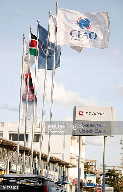 Flags fly outside the DT Dobie head office on Lusaka Road in Nairobi Kenya on Saturday Oct 20 2007 DT Dobie is a subsidiary of CFAO Founded in 1887...