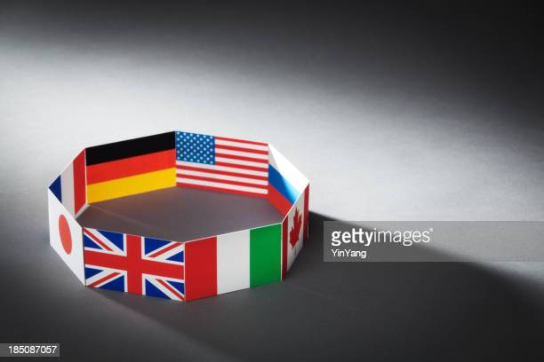 Flags for Global Economic G8 Group of Eight Countries Hz
