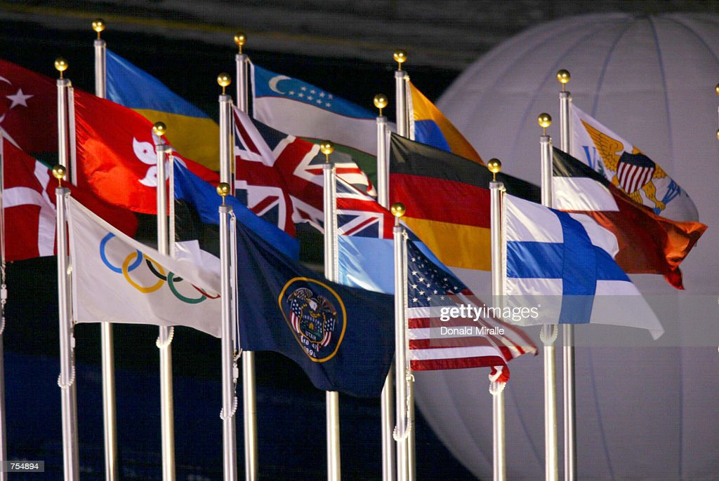 Flags from around the world are displayed at the Opening Ceremony of the 2002 Salt Lake City Winter Olympic Games at the Rice-Eccles Olympic Stadium February 8, 2002 in Salt Lake City, UT.