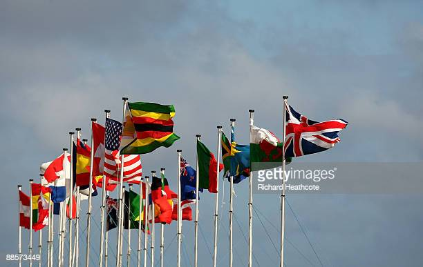 Flags from the competing nations blow in the wind during The Amateur Championship at Formby Golf Club on June 19, 2009 in Formby, England.