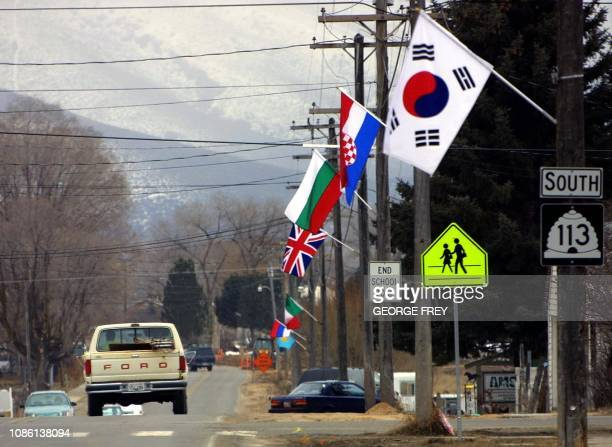 Flags from various nations line the main street of Midway Utah 28 February 2001 This is the site of men's and women's World Cup biathlon to be held...