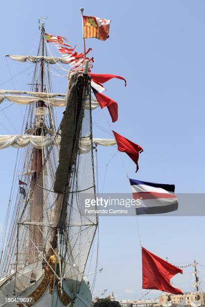 Flags Goleta Spanish school Juan Sebastian de Elcano Class A of 1927 on July 29 2012 in Cadiz Spain