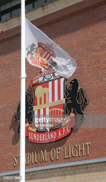 Flags hang at half mast outside the Stadium of Light showing respect for the passing of the Dike of Edinburgh before the Sky Bet League One match...