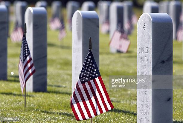 Flags honor the veterans buried at Fort Jackson National Cemetery in Columbia South Carolina on Memorial Day Monday May 27 2013