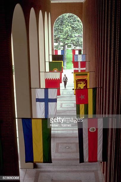 Flags in Arched Walk at Von KleinSmid Center