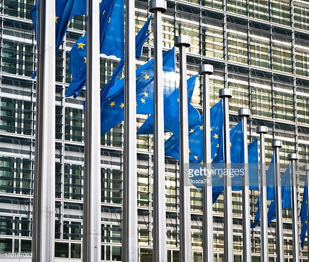 Flags in front of the European Commission, Brussels