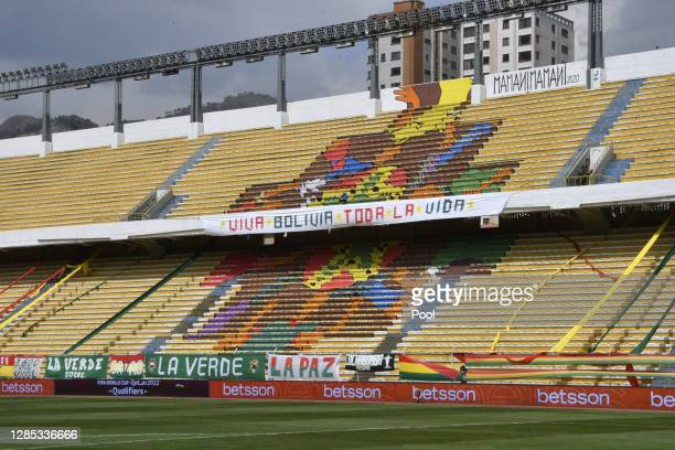 Flags in support of Bolivia hang on the empty stands before a match between Bolivia and Ecuador as part of South American Qualifiers for Qatar 2022...