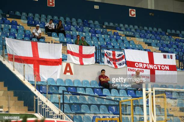 Flags in support of England are displayed in the stands during the FIFA Women's World Cup 2015 Group 6 Qualifier between Turkey and England on...