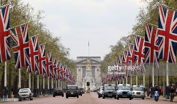 Flags line The Mall leading to Buckingham Palace on April 15, 2011 in London, England. The Mall makes up part of the route that the HRH Prince...