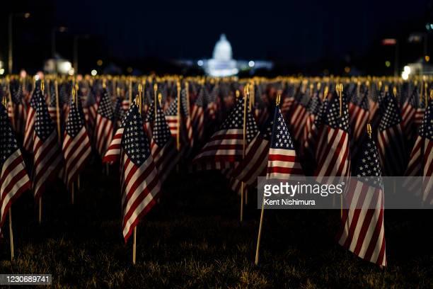 Flags line the National Mall ahead of the inauguration of President-elect Joe Biden and Vice President-elect Kamala Harris on Tuesday, Jan. 12, 2021...