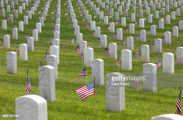 flags mark graves at los angeles cemetery on memorial day - rest in peace stock pictures, royalty-free photos & images