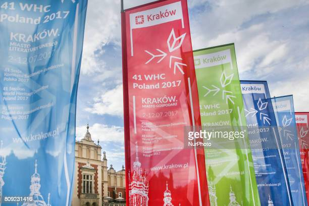 Flags of 41st Session of the World Heritage Committee at the Main Square in Krakow Poland on 1 July 2017