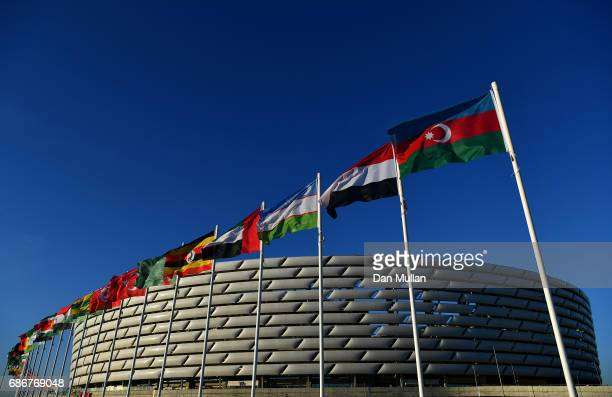 Flags of all the participating countries are displayed outside the stadium prior to the closing ceremony of Baku 2017 4th Islamic Solidarity Games at...