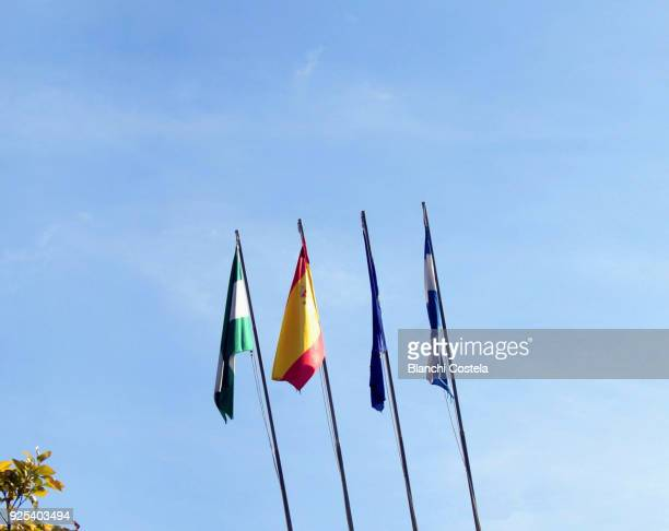Flags of Andalusia, Spain and the European Union