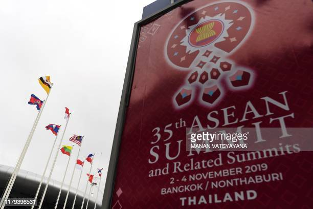 Flags of ASEAN countries flutter outside the venue of the 35th Association of Southeast Asian Nations summit in Bangkok on November 2 2019