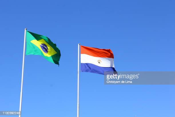 Flags of Brazil and Paraguay