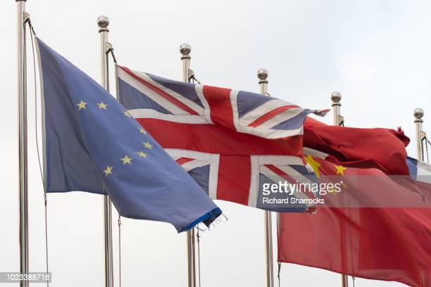 flags of china, european union and united kingdom - british and eu flag stock pictures, royalty-free photos & images