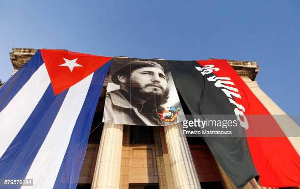 Flags of Cuba an 26th July movement are seen during an act to honor late Fidel Castro at Habana Unversity on November 26 in Havana Cuba Fidel Castro...