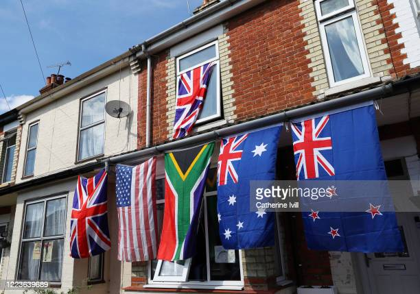 Flags of different countries hang from a house on May 08 2020 in Aylesbury United KingdomThe UK commemorates the 75th Anniversary of Victory in...